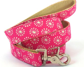 Pink Girl Dog Leash - Modern Style Dog Lead - Colorful Hot Pink Leash