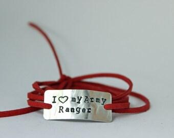 "deployment bracelet, hand stamped, ""i love my army ranger"", military wife, military girlfriend, deployment jewelry, military jewelry"