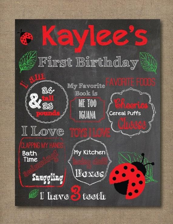 First birthday chalkboard printable poster girl 1st birthday for First birthday chalkboard printable