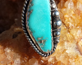 Blue Toro Turquoise, Elegant Slim Southwest, ring, crafted in sterling silver