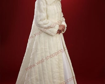 Wedding Coat Bridal Long Coat Fake Fur Faux Ivory White A1001L Full Length