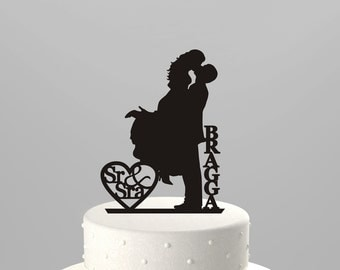 "Wedding Cake Topper Silhouette Couple ""Sr & Sra"" Personalized with Last Name, Acrylic Cake Topper [CT18fs]"