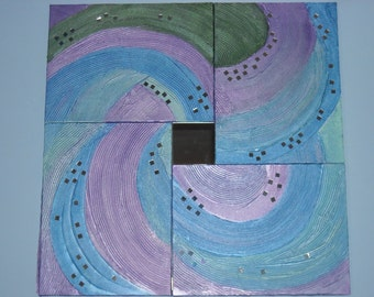 Original painting modern material: color spiral PIECE free shipping. Sale