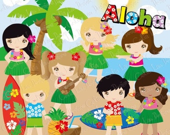 Luau Party Clipart, Cute Hula Girl and boy clipart / Hawaiian party (CG050)/ Aloha Clipart / for Personal and Commercial / INSTANT DOWNLOAD