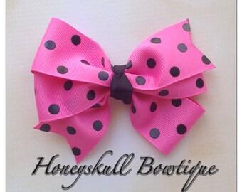 Pink and Black Polka Dot Bow Clip
