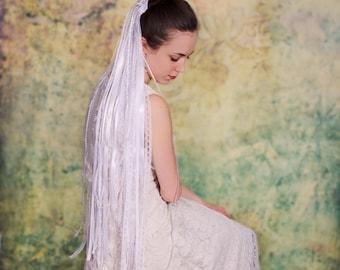 White Lace and Ribbon Veil, Boho Veil, Beach Veil, Unique Veil, White Lace Veil- ADDISON