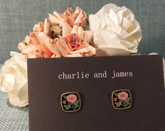 Black and Pink Floral Stud Earrings