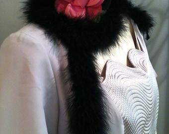 Deco Flapper Costume. Plus Size, Gray. Dress with Blossom Choker/Headband & Boa. Gatsby Downton Abbey. 1920s FREE US SHIPPING!
