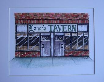 Lynch's Tavern, by Karen Paciullo, 2014, Throggs Neck, Bronx, NY, ready to frame art print