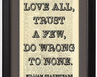 DICTIONARY Print  poster, William Shakespeare Quote, Motivational posters, Typographic print,  Book Pages, Wall decor, Dorm decor CODE/082