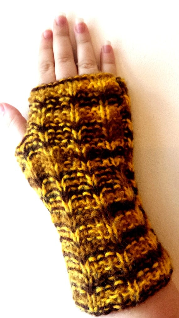 Fingerless gloves, Hand Knit mitts, mittens, wrist warmers in yellow, brown shaded colors - Hand knitted colorful Mittens