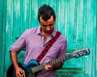 Guitar strap, leather guitar strap, Red guitar strap, Electric guitar strap, Woven guitar strap, Gift guitarist - Camino Ciudad Red CCG1