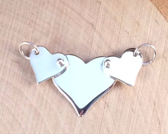 Heart Charm, Heart Pendant, Heart Link, Three Riveted Heart Festoon Charm, Heart Festoon Charm, Sterling Silver Heart Charm, PS0143