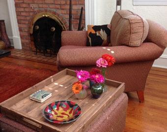 Rustic Wooden Ottoman Tray, Ottoman Tray, Wooden Tray, Rustic Decor, Coffee Table Tray, Farmhouse Decor, Rustic Home Decor, Serving Tray