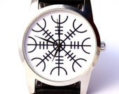 Watch Viking symbol Aegishjalmr Helm of awe protection symbol