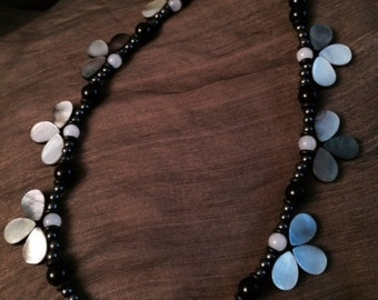 Beaded mixed media necklace