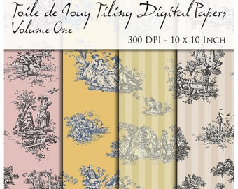 10 Seamless Toile De Jouy Digital Papers. 300 DPI. 10 x 10 Inch.