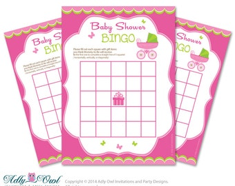 Pink Green Stroller Bingo Game Printable Card for Baby Girl Shower DIY grey, Pink Green Carriage - ONLY digital file - oz4bs3
