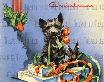 Retro Black Scottie Dog Christmas Card #115 Digital Download