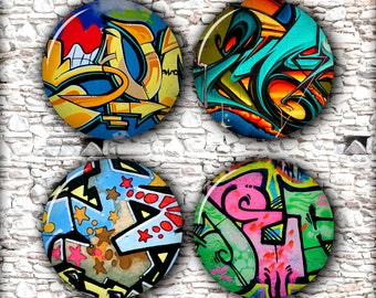 Graffiti Street Art Circle Digital Images 1 inch 25mm 30mm 1.5 inch for Pendants, Bottle Caps Printable Digital Collage Sheet