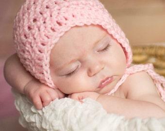 Crochet Bonnet, Baby Bonnet, Knit Bonnet, Newborn Baby Bonnet, Photography Prop, Neutral Bonnet, Baby Girl Bonnet, Baby Boy Bonnet