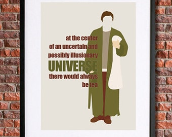 Hitchhiker's Guide to the Galaxy Poster Art, Instant Download Printable Art | Douglas Adams, There Would Always be Tea, Arthur Dent | Sci Fi