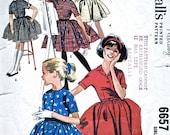 "1960's Girls' Dress - 1960s - Vintage Dress Sewing Pattern - Full Skirt Dress - McCalls 6657 - Breast 28"" - Supplies"