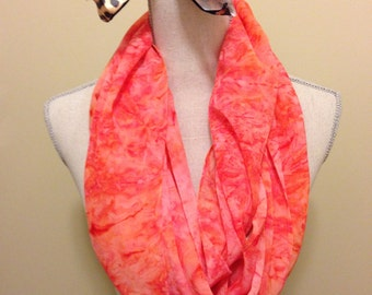 Coral Watercolour Infinity Scarf