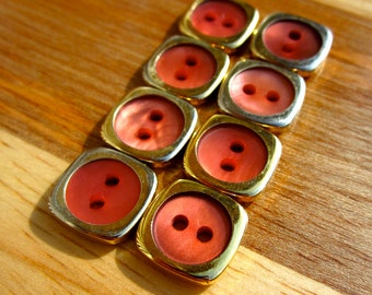 Set of Eight Square Gold and Pink Flat Buttons