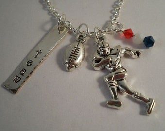 Personalized Football, Pro, College, High School, Youth, Hand Stamped, Customized Charm Necklaces