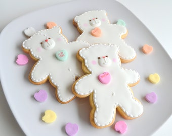 Valentine's Day Sweet White Bears with Hearts Cookies 1 dozen