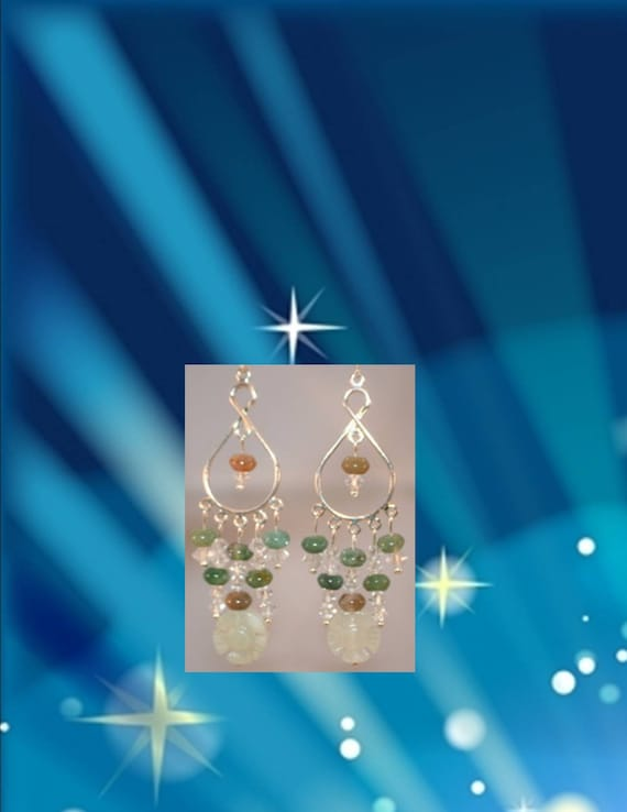 Jade Flower & Crystal Earrings, Women's Anniversary Gifts, Chandelier Dangle Jewelry with Jasper