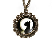 Cat Art Pendant for Halloween, Necklace, Glass Pendant, cat hand made jewelry, Photo Jewelry, Keychain, Vintage Gift, kitty lovers, Animals