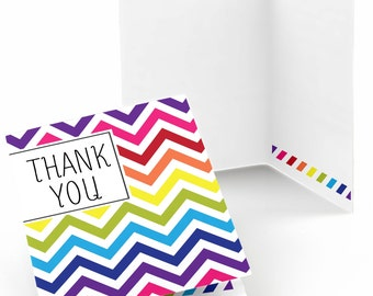 Set of 8 Thank You Cards - Rainbow Chevron Note Cards