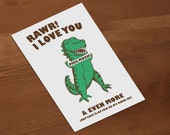 "INSTANT DOWNLOAD T-Rex Dinosaur Funny romantic couples Anniversary Card ""I Love You This Much and Even More But That's As Far As My Arms Go"""