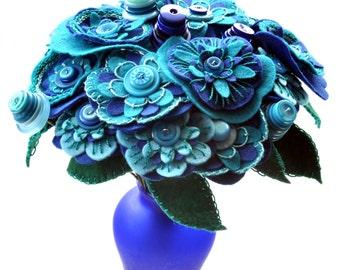 Mother's Day Flower Bouquet / Felt Flower Bouquet / Button Bouquet / Floral Gift / Decorative Flowers / Flower arrangement