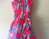 Vintage Ruffle Hawaiian Print Summer Dress