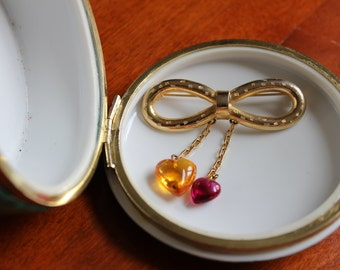 VIntage Gold Tone Infinity Pin with Yellow and Pink Glass Heart Drops