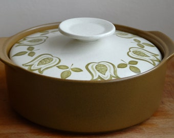 "Mid century J & G Meakin Maidstone ""Tulip Time"" Vintage Lidded Croc Pot/ Casserole Dish"