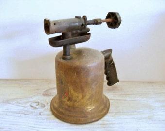 Antique Blow Torch Wall Pistolgrip Handle Vintage Superior Cast Iron Brass Bakelite 1940s