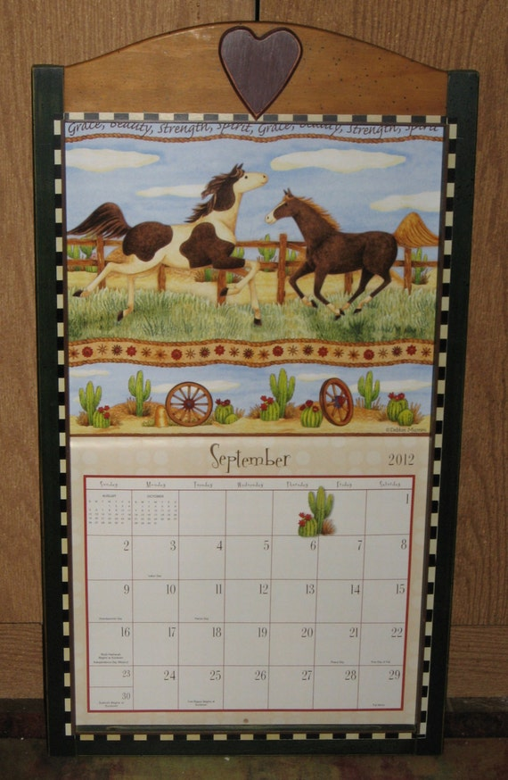 Calendar Wood Holder : Vintage country debbie mumm calendar holder wood frame