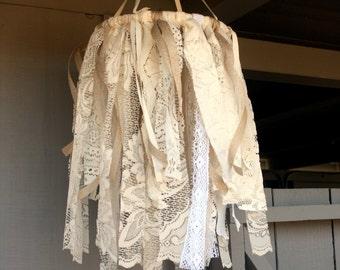 Rustic Wedding Chandelier Cream Wedding Backdrop Vintage Lace and Trim Wedding Decor Romantic Farmhouse Baby Shower Engagement Bridal Shower