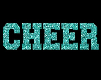 Cheer Glitter Iron On Heat Transfer Vinyl Fully Customizable Decal