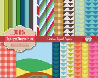 Vacation digital papers, digital images, printables, patterns, backgrounds, digital clipart [SC-006]