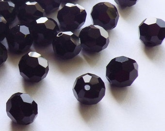 Vintage Swarovski Crystal Beads, 6mm Jet Article 5000, 35 Vintage Crystal Beads