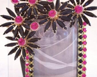 Beveled Glass Photo Frame Designed using Vintage Jewelry with Jet Black and Fuschia Rhinestones.