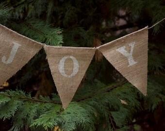 Joy Burlap Banner-Christmas Burlap Banner-Holiday Burlap Banner-Shabby Chic Christmas Burlap Banner-Christmas Fabric Banner-Christmas Decor