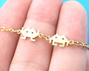 Space Invaders Gamer Girl Pixel Alien Charm Bracelet in Gold | Atari Arcade Game Inspired Jewelry
