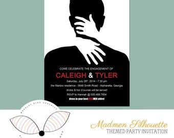Madmen Silhouette - Themed Party Invitation - Digital File