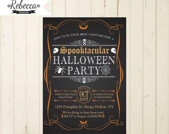 halloween invitation printable halloween invite chalkboard halloween orange and black invitation halloween spider skulls skeletons adult 133